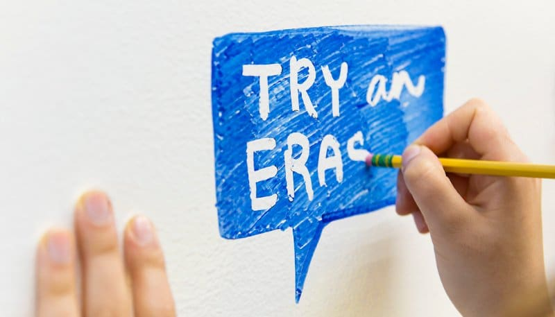 Use a pencil eraser to create negative space on whiteboards