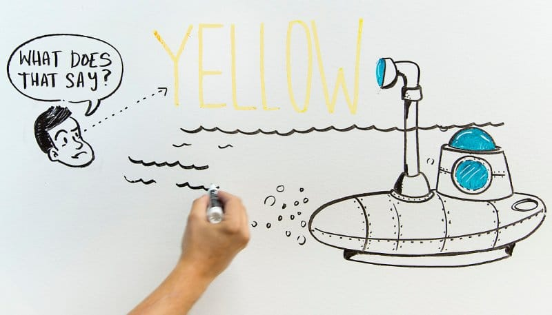 Don't use yellow ink on dry erase whiteboards