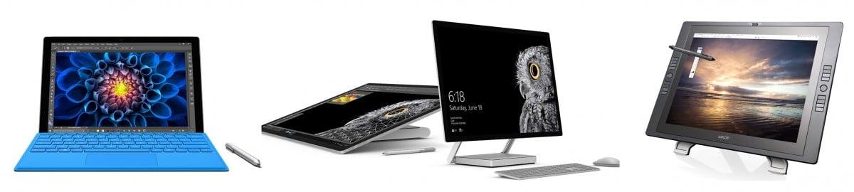 Surface Pro, Surface Studio, and Wacom Cintiq