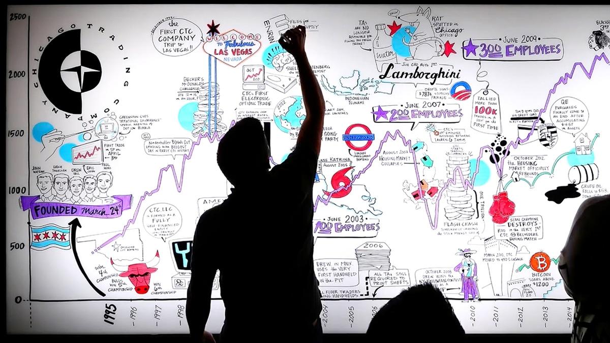 An artist creates live drawings on an LED plexiglass wall
