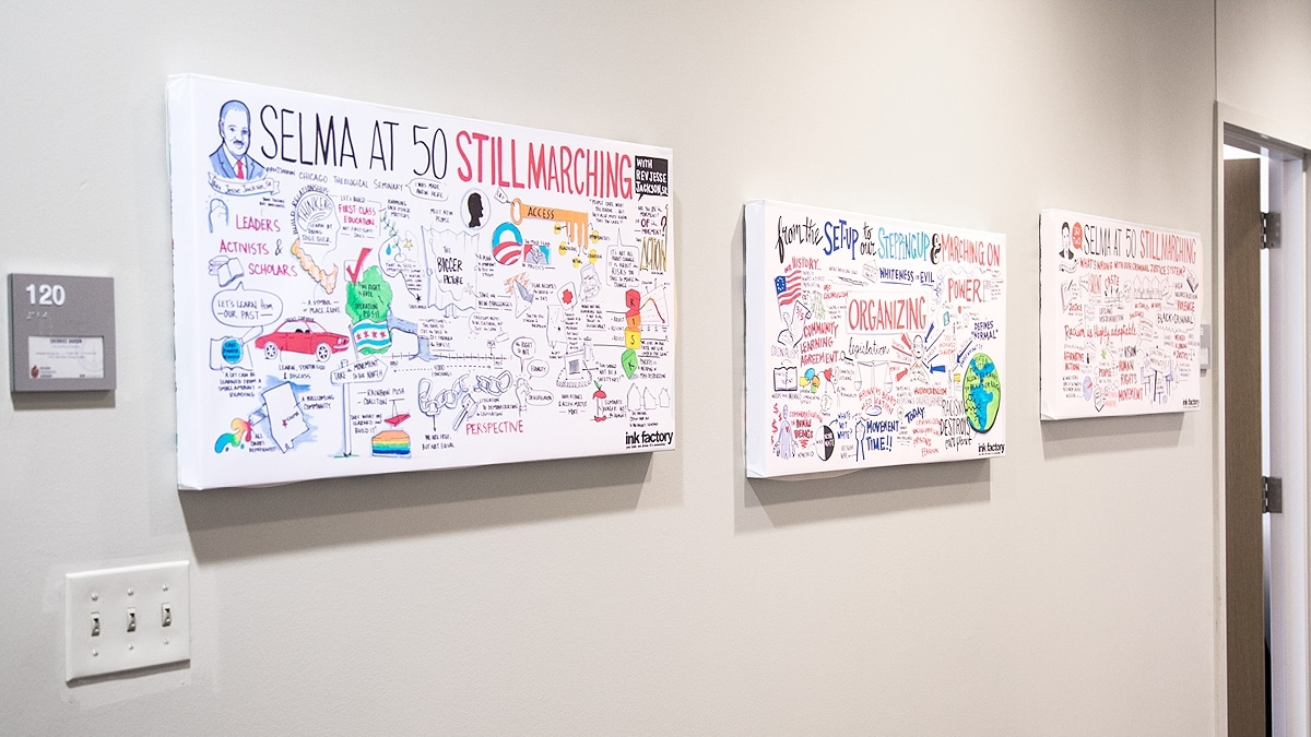 Chicago Theological Seminary had their visual notes printed on canvases and hung in their offices in Chicago