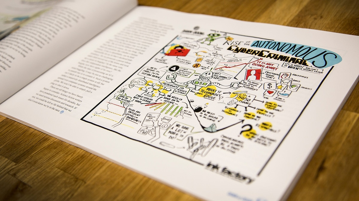 Purdue created a beautiful booklet about their event, interspersed with Ink Factory's visual notes to add interest to the book's design