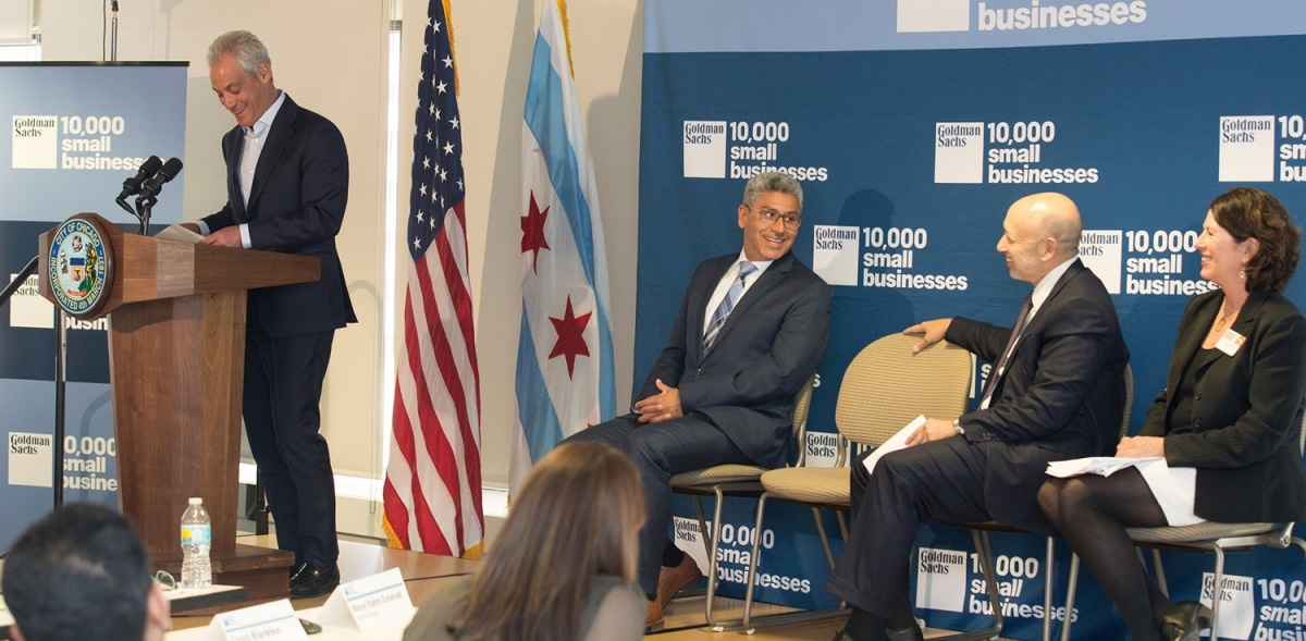 Chicago Mayor Rahm Emanuel addresses cohort 18 and the press at the Goldman Sachs 10,000 Small Businesses alumni reception on April 14, 2017