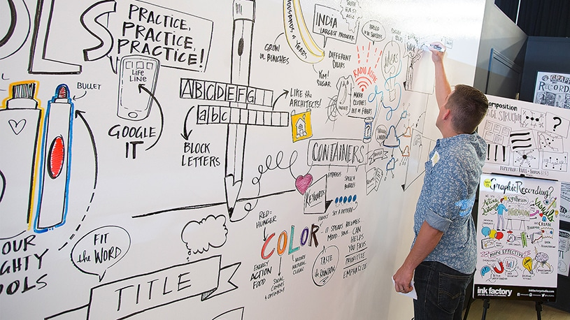 An Ink Factory artist demonstrates live drawing (Visual Note-Taking) on a whiteboard during a workshop