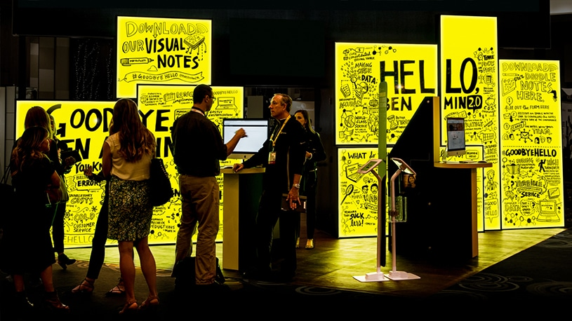 An illuminated trade show booth created by Ink Factory for Maestro Health