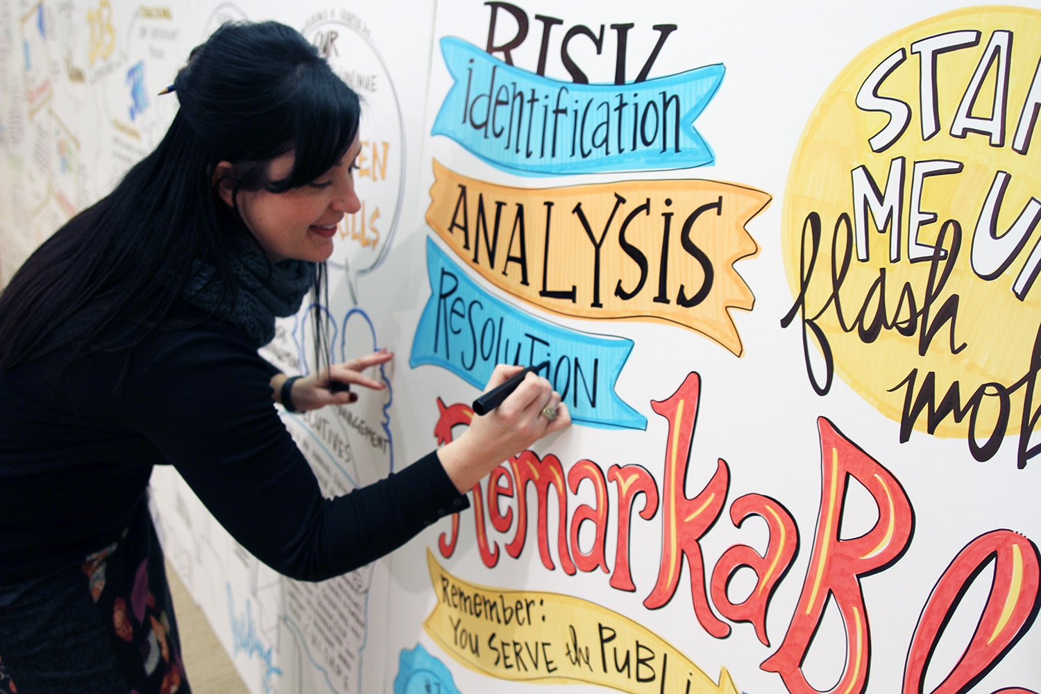 A graphic recorder from Ink Factory draws live to create visual notes